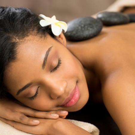 Massage du dos aux pierres chaudes, détente des pieds &...